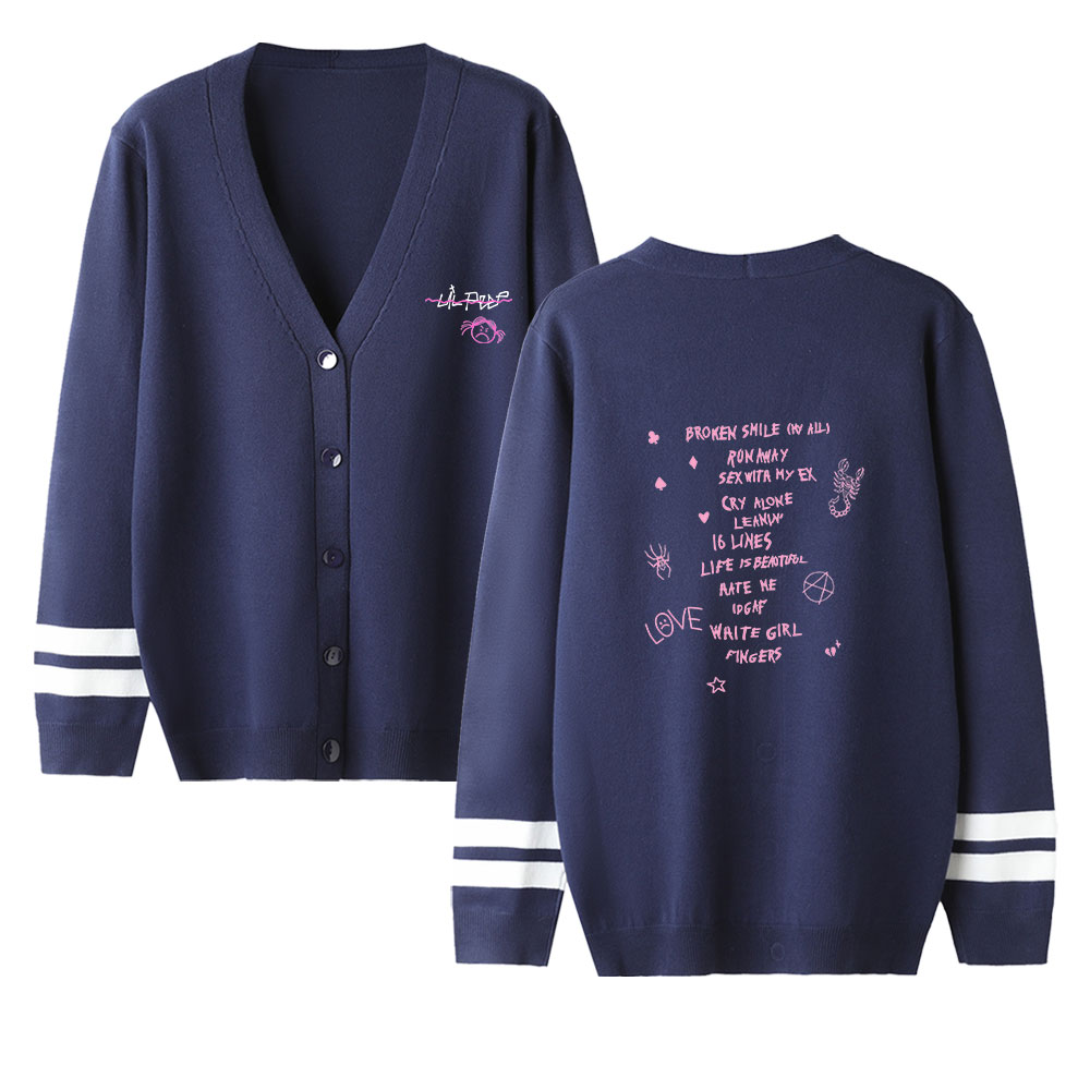 Lil Peep V-neck Cardigan Sweater Men/women Aikooki New Fashion Navy Casual Harajuku Sweater Lil Peep Popular Sweater Casual Top
