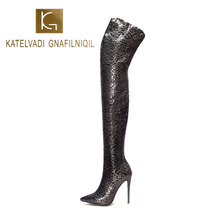 KATELVADI Black PU Over The Knee Boots Women Winter Zip 12.5CM High heel Night Club Long Thigh K-578