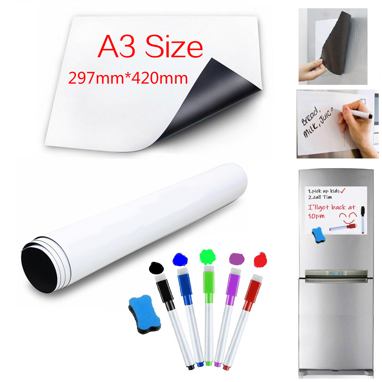 A3 Size Magnetic Whiteboard For Fridge Magnet Kitchen Magnets Sticker Dry Wipe White Board Marker Pen Eraser Write Notepad Memo