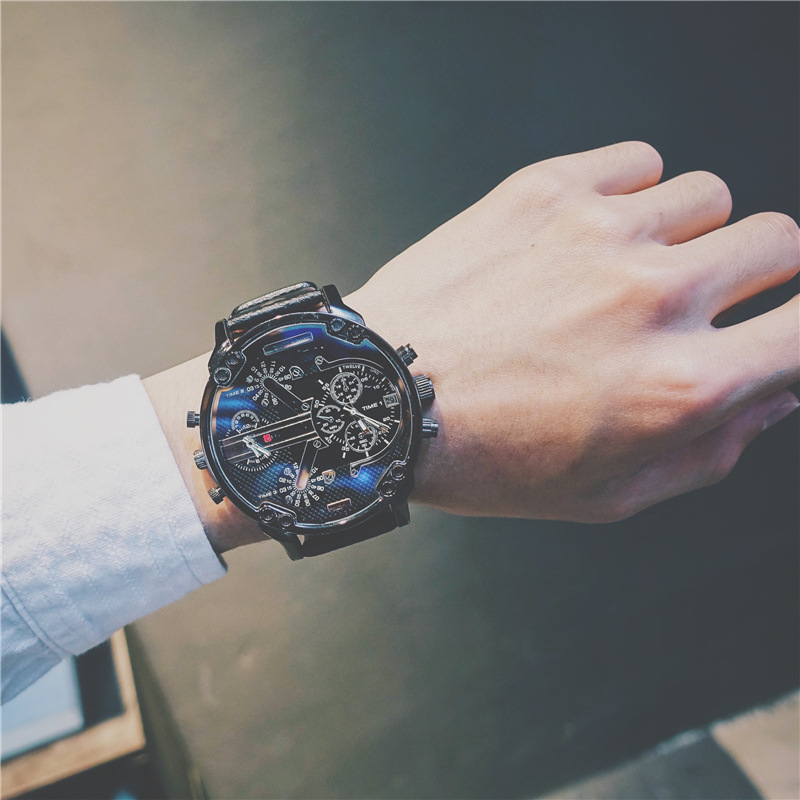 2020 Trendy Watches Male Teenagers European American Personality Hip-hop Student Cool Oversized Big Dial Non-mechanical Watch