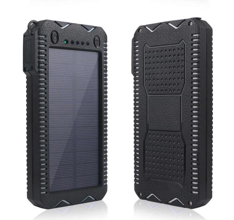 High Capacity 30000mAh Solar Power Bank with Cigarette Lighter Quick Charging Power Bank Outdoor Emergency Charger Double USB