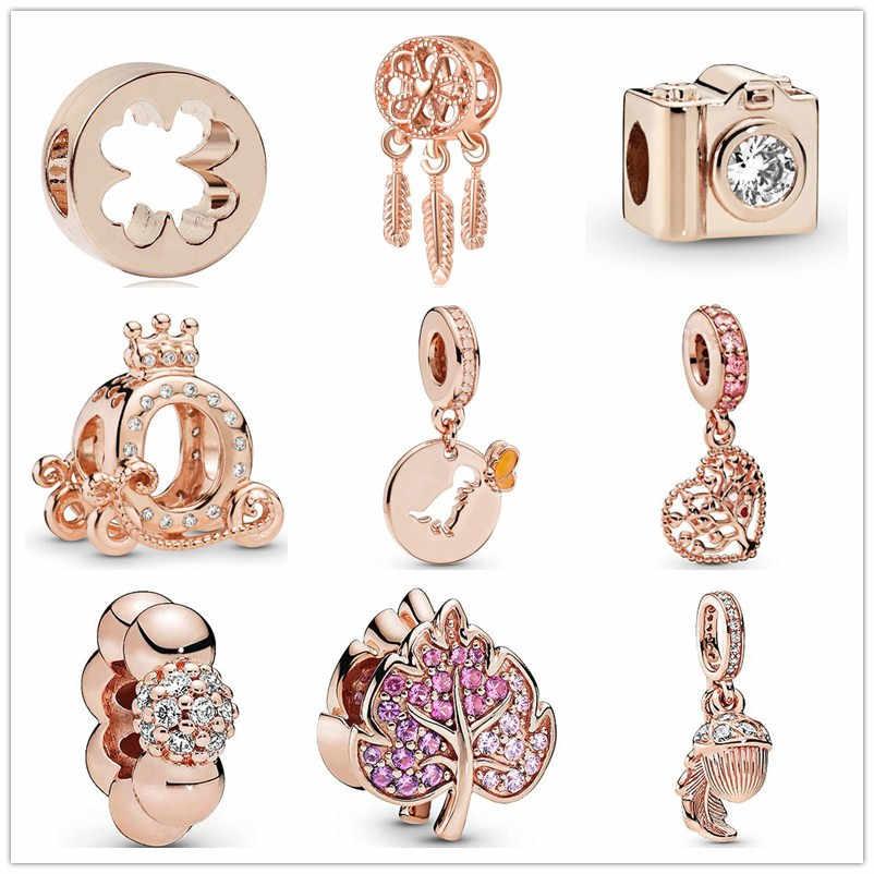 2019 nowe różane złoto musujące Pave liść koniczyny aparat Dreamcatcher rodzina diy koralik fit oryginalny Pandora charms bransoletka F288