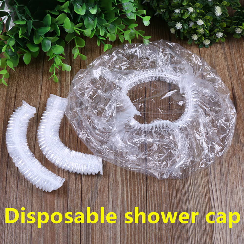 High Quality 100PCs Elastic Transparent One-off Shower Hair Cap Cover Bath Salon Spa Hat Hotle Bathroom Accessories Disposable