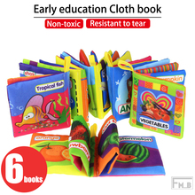 (6 BOOKS) Non-toxic and Tear-resistant English Palm Book Cloth Book Enlightenment Cognition Montessori Book стоимость