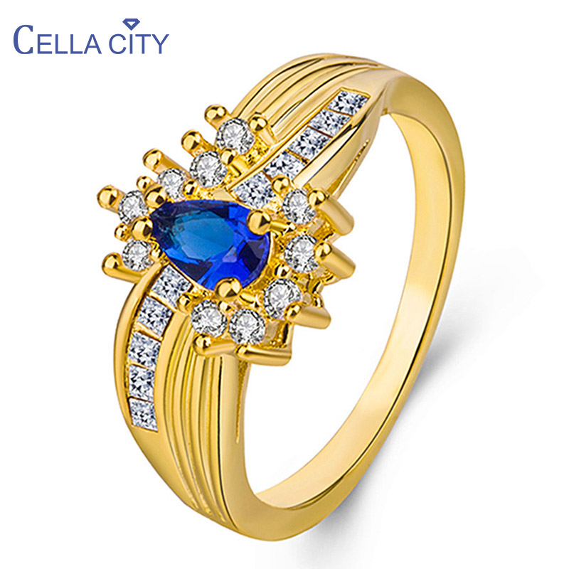 Cellacity Geometry Luxury Design Silver 925 Jewelry Gemstones Ring for Women Water Drop Shaped Sapphire Emerald Gifts Wholesale