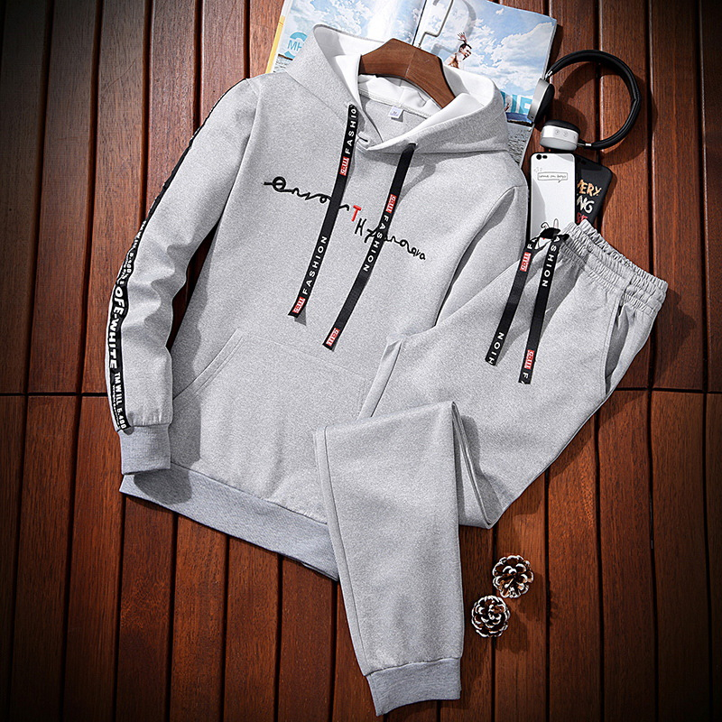 MEN'S Suit Autumn Long Sleeve Hoodie Trend Korean-style Students Trousers Casual Sports Two-Piece Set Business Attire