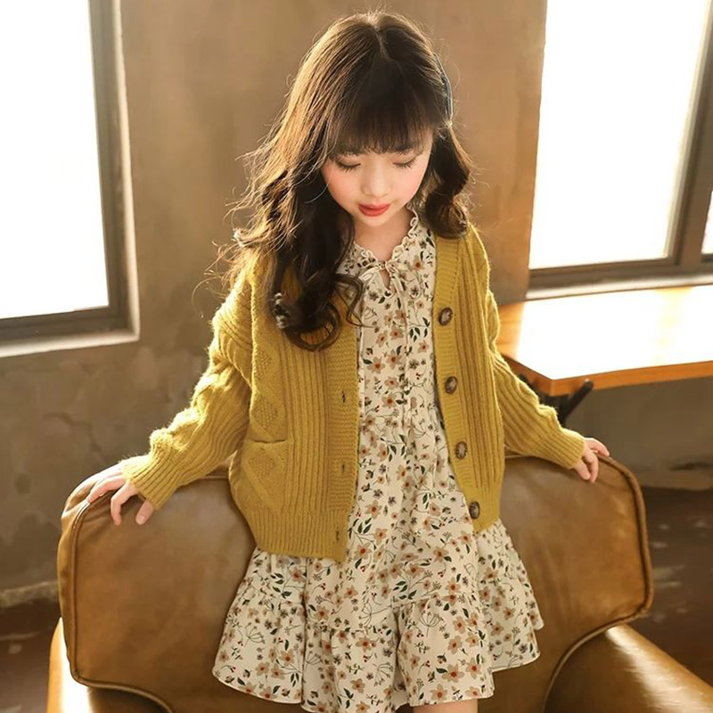 Image 2 - Kids Sweaters Autumn Solid Girls Cardigan Knit Wool Children Girls Clothes Tops Color Yellow Children Girl Warm Winter SweaterSweaters   -
