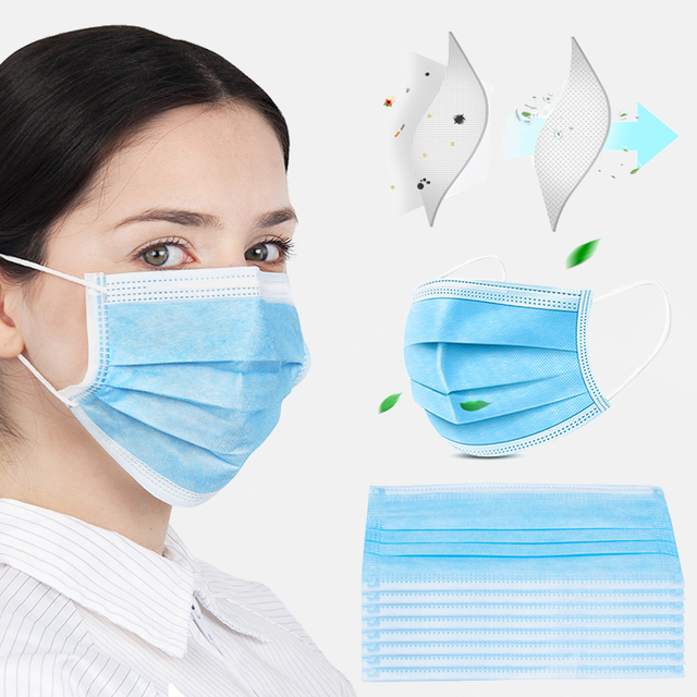 10/50/100Pcs Anti-dust Breathable High Quality Non Woven Disposable Face Mask 3 Layers Anti-Dust Face Masks Ear loop Mouth Mask 3