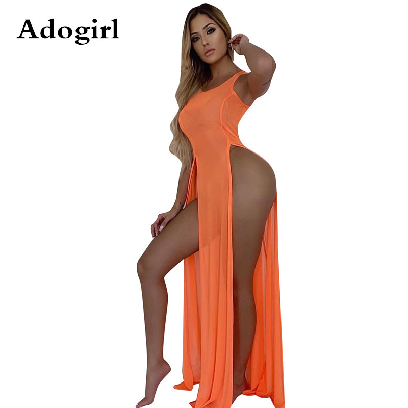 Sheer Mesh Double High Slit Summer Beach Party Dress Sleeveless Maxi Dress Swimwear See Through Sundresses Night Club Outfits