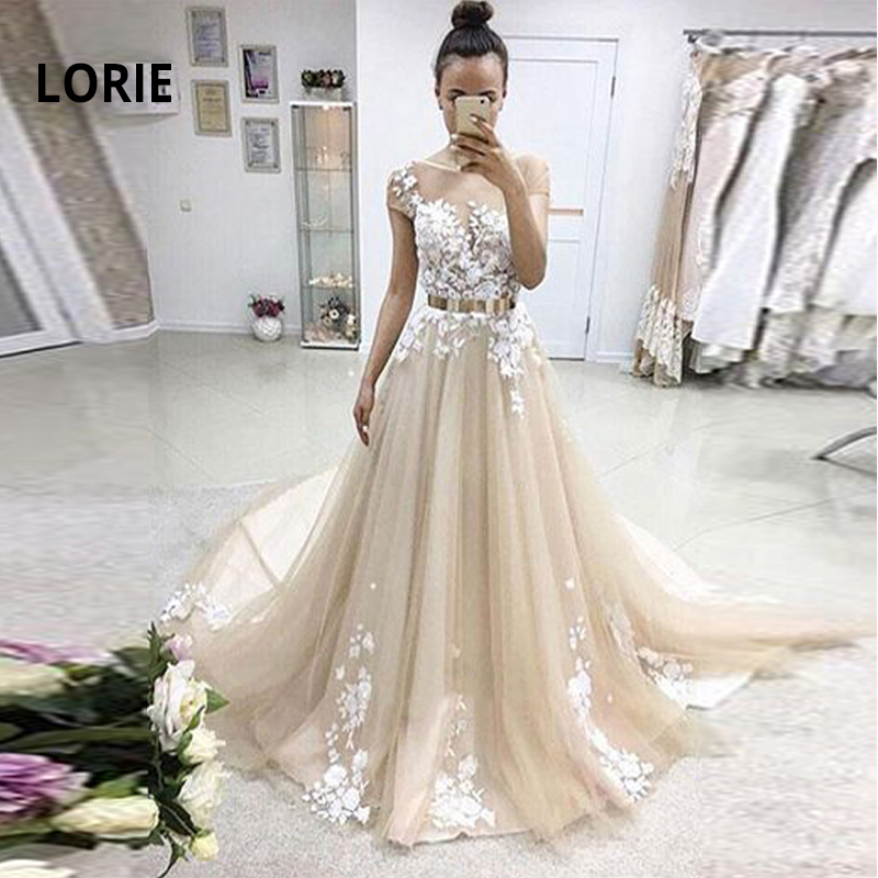 LORIE Cap Sleeve Lace Appliqued Bride Dress 2019 Beach Boho Princess Wedding Dress With Belt Wedding Party Gown Champagne