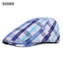 SILOQIN  Beret For Women Summer Autumn Cotton Plaid Cloth Berets Adjustable Snapback Fashion Leisure Motion Tourism Tongue Cap