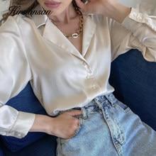 Hirsionsan elegante cetim de seda camisas femininas primavera outono vintage turn down collar blusa feminina branco escritório senhoras camisa topos