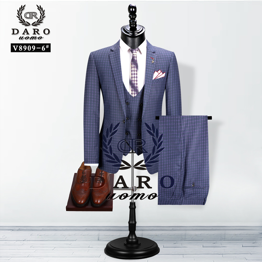 2020 DAROuomo  Men Suit New Style Blazer Vest 3Piece  Grey Slim Fit Fashion Suit  Business Casual Tailor-Made 1