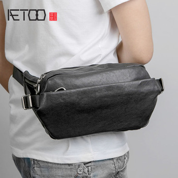AETOO Men's leather chest bag, multi-functional small bag, men's trend one-shoulder bag, casual leather chest bag