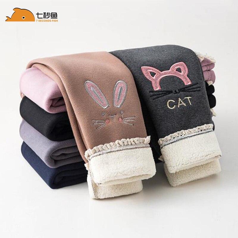 girl leggings winter 2021 cartoon Embroidery Velvet Elastic Waist Warm Legging 2-12 Years Old Girl Trousers kids pants 1