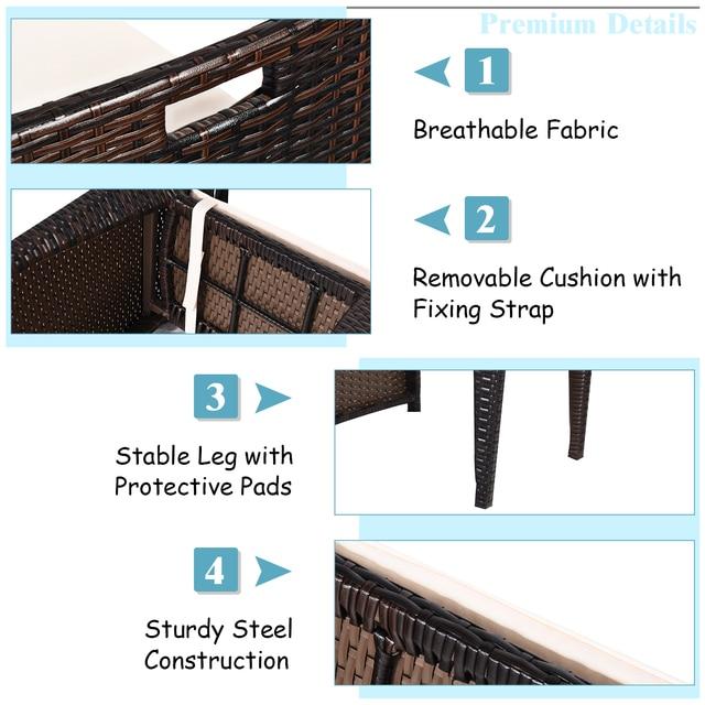 3PCS Outdoor Patio Rattan Furniture Set  6