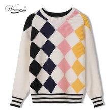 Suéter de manga larga con cuello redondo para mujer, jersey de Color Argyle, moda coreana, grueso, cálido, informal, C-206, otoño e invierno, 2021