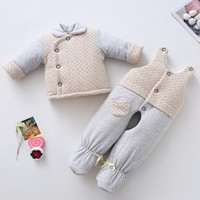 Baby handmade cotton set's infant parkas trousers set toddler winter thick warm cotton foot pants winter newborn baby cloths