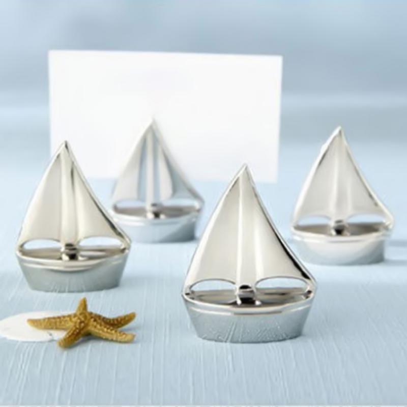 Wedding Photo Creative Gifts Sail Boat Silver Place Card Holder Beach Theme