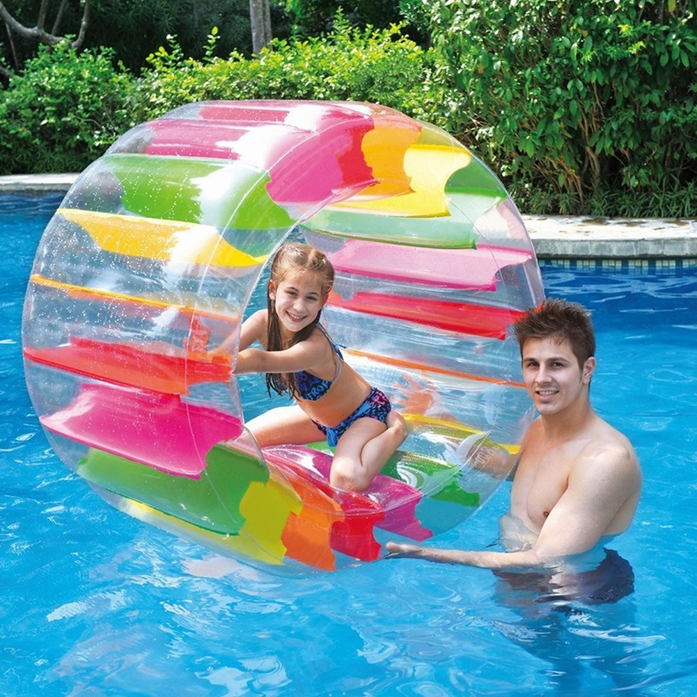 1pcs Kids Colorful Inflatable Water Wheel Roller Float 36inch Giant Roll Ball For Boys And Girls Swimming Pool Toys Games