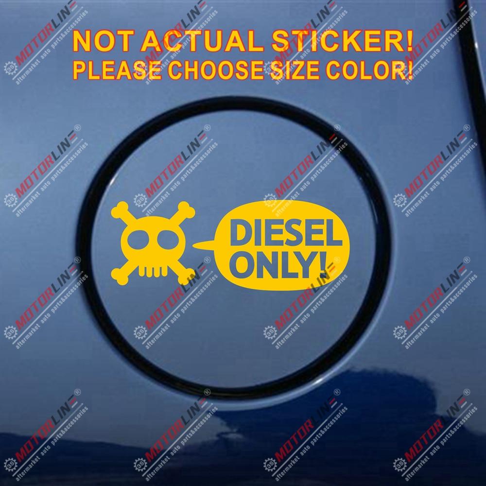Diesel Only Skull Fuel Door Cover Cap Gas Tank Decal Sticker Black