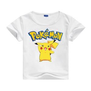 Белая детская футболка с рисунком «Покемон», топ, Повседневная хлопковая детская одежда с короткими рукавами и принтом