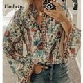 Женские блузки с цветочным принтом Fanbety размера плюс, повседневные рубашки с длинным рукавом и v-образным вырезом в стиле бохо