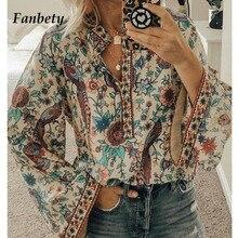 Fanbety Plus size Autumn Chic Blouses women Peacock Floral P