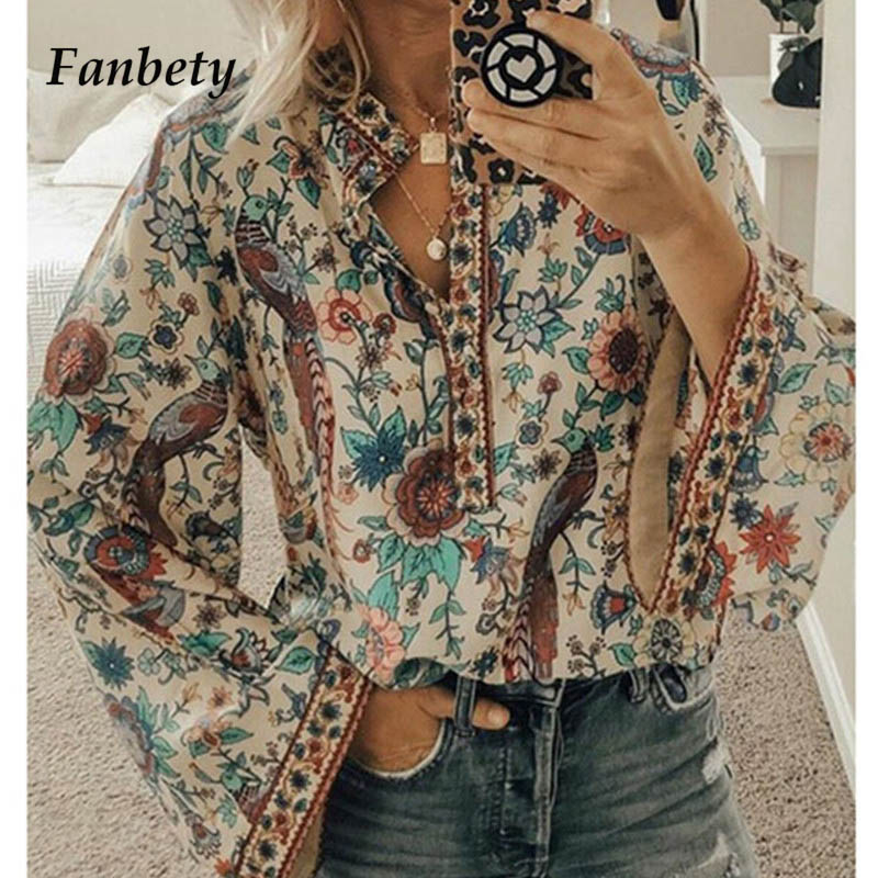 Fanbety Plus size Autumn Chic Blouses women Peacock Floral Print Long Sleeve Shirts women Casual V-neck Boho Blouse Tops Female