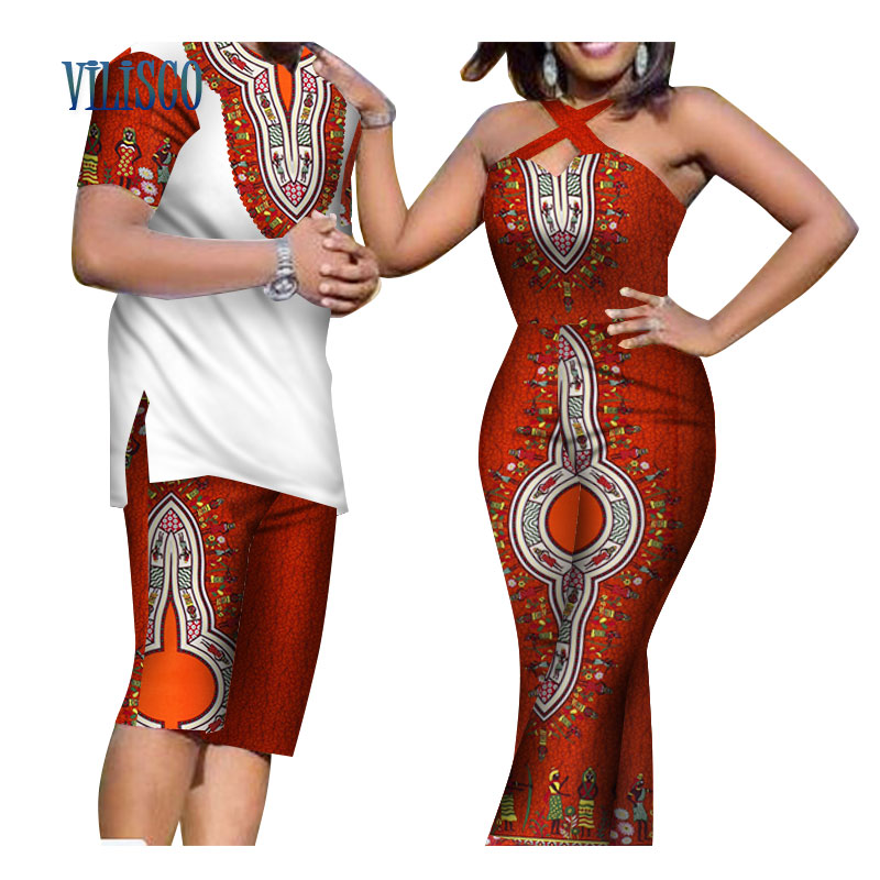 Summer African Print Men Top And Pants Sets For Couple Clothing Women Bazin Riche Dashiki 2 Pieces Lover Couples Clothes WYQ81