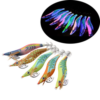 10pcs/pack Body Luminous Squid Jigs Hooks Octopus Cuttlefish Shrimp Baits Fishing Lures Size 2.5# 3.0# south bend fishing lures baitholder hooks 10 pack size 2