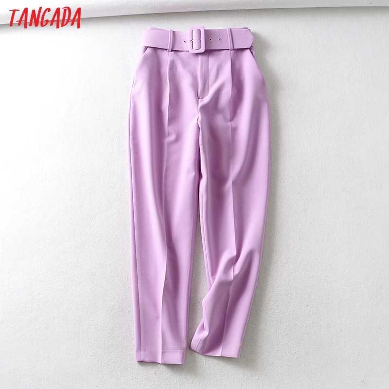 Tangada 검은 정장 바지 여성 높은 허리 바지 주머니 사무실 숙녀 바지 패션 중간 세 분홍색 노란색 바지 6A22
