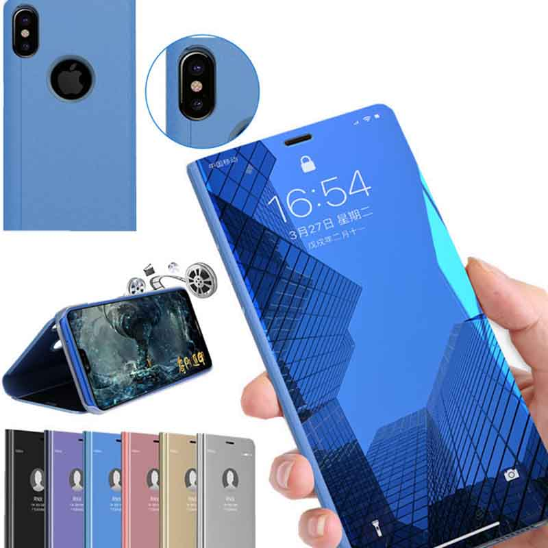 Flip Phone Case for iphone xr x xsmax xs Fashion Mirror apple Capa for iphone 7 8 6 6s plus 5 S Luxury Shiny PC Cover Ultra-Thin