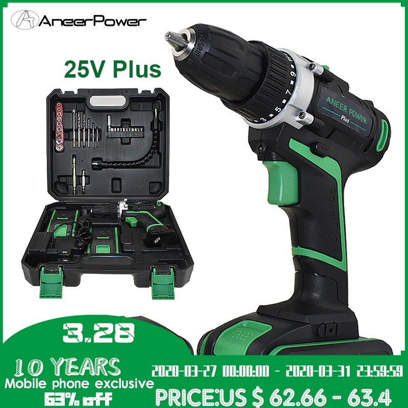 Professional 25V Batteries Cordless Drill Mini Electric Battery Screwdriver Power Tools Drilling  Tighten And Loosen The Unscrew