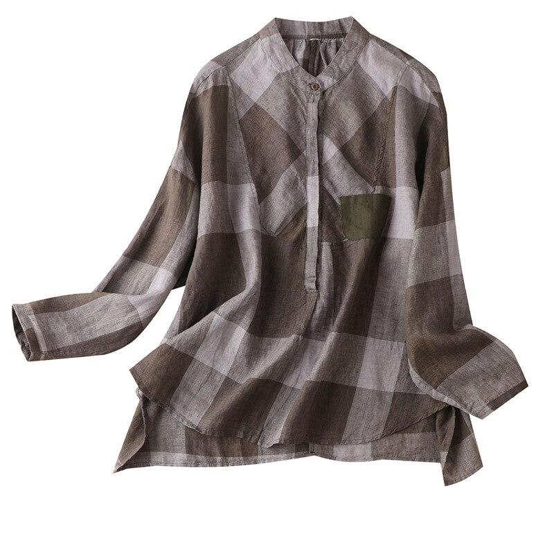 Classic Plaid  Linen Blouse Women Long-Sleeved Autumn Women's Casual Retro Shirt Women's Loose Linen Shirt 2020 autumn