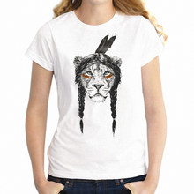 Women's T Shirt Chief Lioness With Braid Awesome Girl's Tee(China)