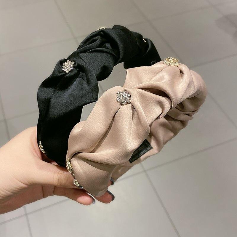2021 новые плиссированные однотонные атласные головные ободки повязки ободок обруч для волос тюрбан обувь с украшением в виде кристаллов, ка...
