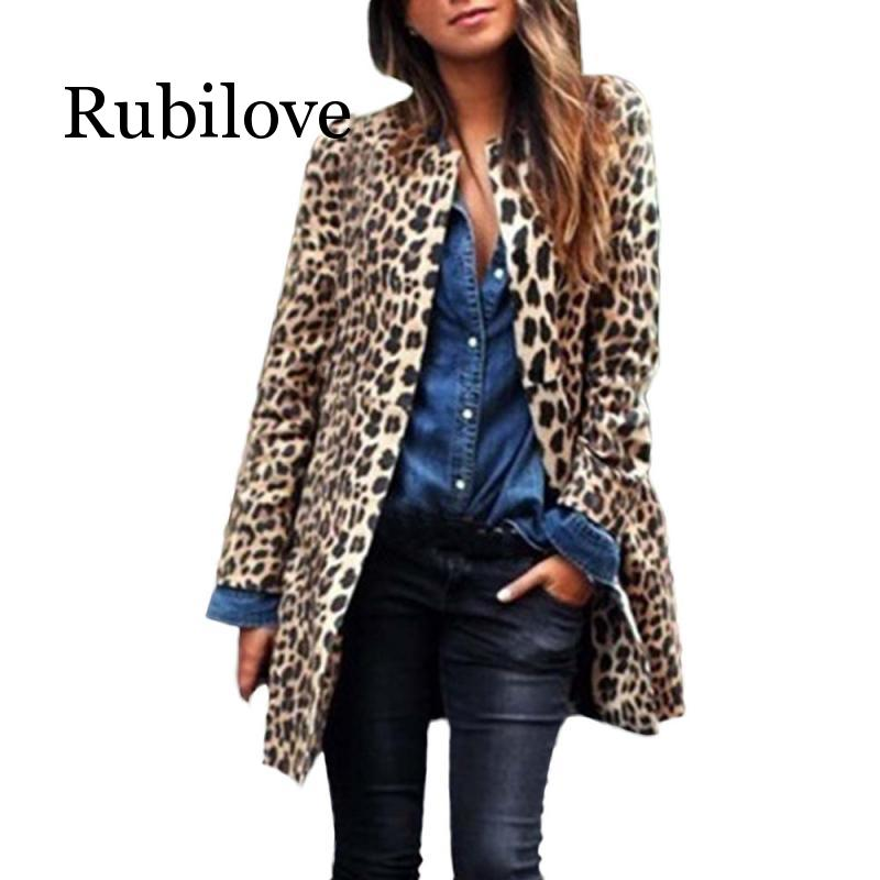 Rubilove Fashion Winter Spring Leopard Faux Fur Coat Women Long Coat Manteau Fausse Fourrure Femme