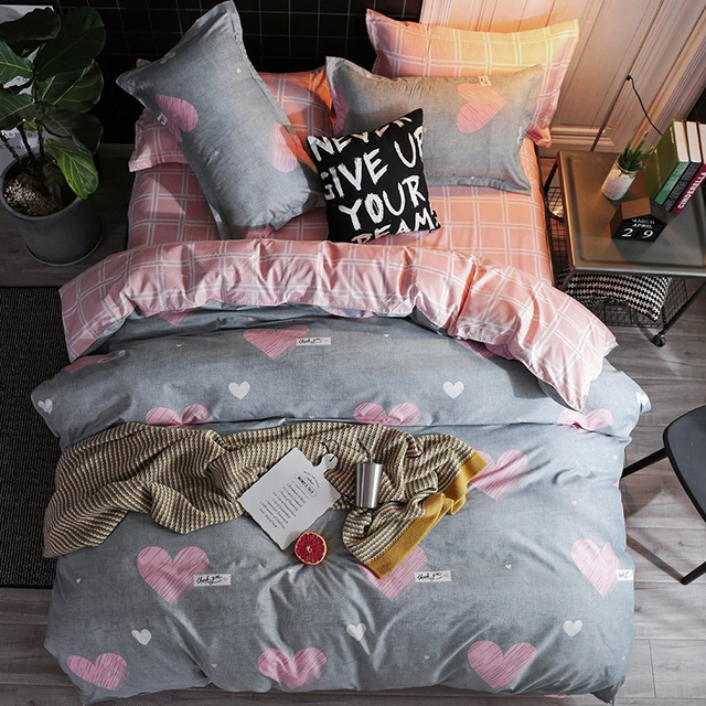 Solstice Bedding Set Pink and Grey Love