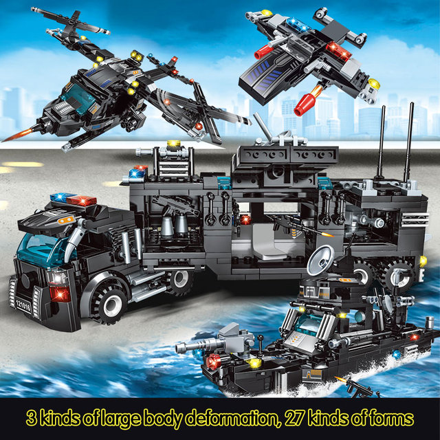 715pcs City Police Station Car Building Blocks SWAT Team Truck House Technic Diy Toys 1