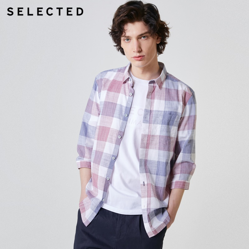 SELECTED Men's Slim Fit 100% Cotton Plaid Trend Checked 3/4 Sleeves Slim Casual Cropped Shirt C|419231526