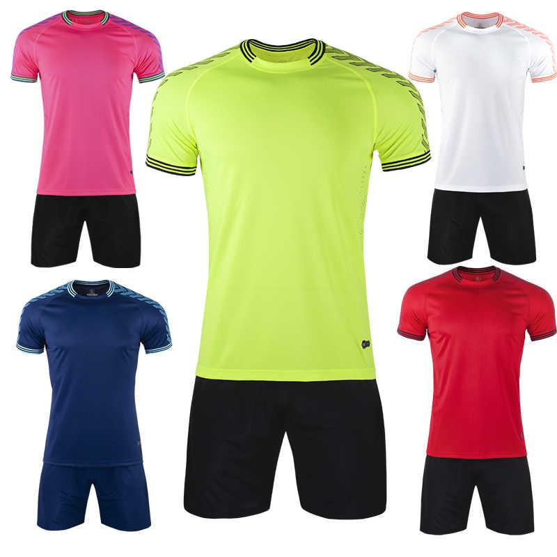 Camisa de futebol adulto azul dos homens do uniforme de futebol da marinha da luva curta crianças camisa de futebol do esporte do menino conjunto de camisas diy nome oem número