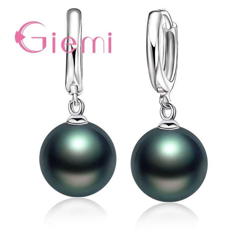 Neue Mode Gute Verkauf 925 Sterling Silber Perle Ohrringe Zubehör Weiße Perle Hoop Für Frauen/Mädchen Hochzeit Schmuck
