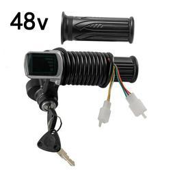 48V przełącznik kontroli prędkości skręcania uchwyty do manetki gazu elektryczny zamek kluczowy wskaźnik zasilania E skuter rowerowy w Akcesoria do rowerów elektrycznych od Sport i rozrywka na