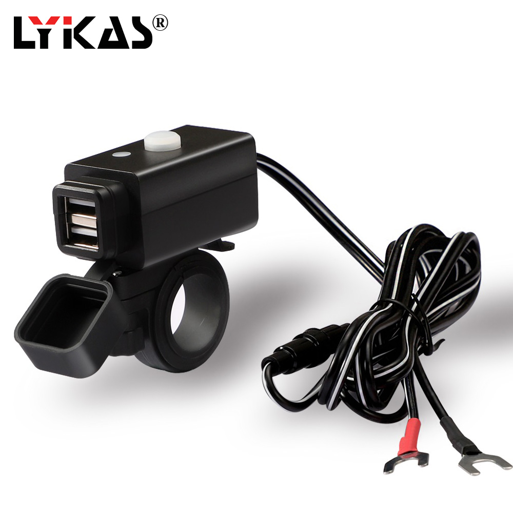 LYKAS Motorcycle USB Charger Dual Port 5v 4.2a Quick Charge 3.0 Waterproof Power Port With 1.5 Meter Wire For ATV UTV Motorbike