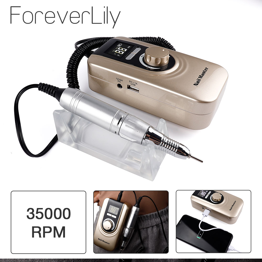 25W Multi-function 35000RPM Rechargeable Portable Strong Polishing Electric Nail Drill Machine Manicure Pedicure Set Nail Tools