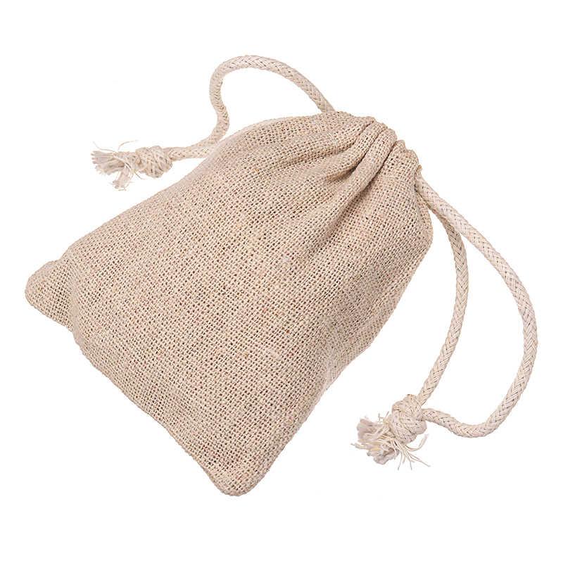 10pcs Burlap Natural Linen Jute Sack Jewelry Pouch Gifts Bags Drawstri O8P6 D8V5
