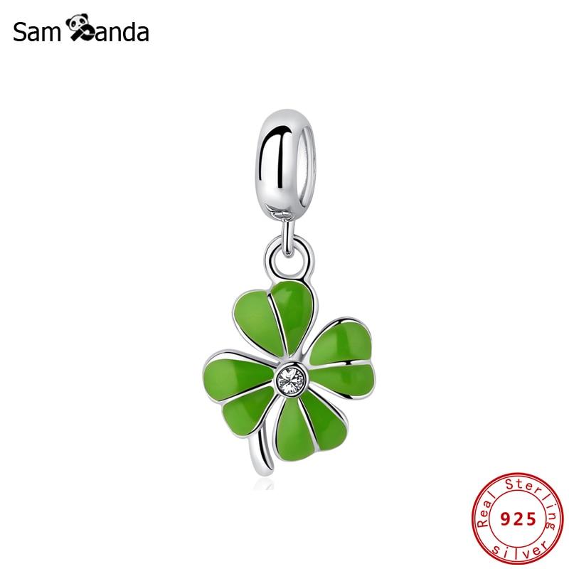 Shamrock Irish Pendant NEW 925 Sterling Silver Four Leaf Clover Charm