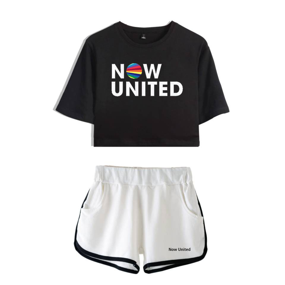 Now United - Better Album Women Two Piece Set Shorts+lovely T-shirt Better Now United Lyrics Harajuku Streetwear Hot Girl Sets