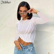 Nibberスタイリッシュなlrregularカットリブニットパッチワークtシャツ女性ソリッドスキニーストリート2020秋カジュアル活動作物トップスclother